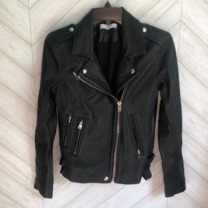 IRO Han black leather Moto jacket 36